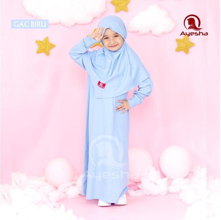 gamis anak wanita perempuan muslimah biru